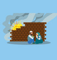 woman man hide after explosion concept banner vector image