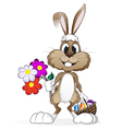 Easter rabbit with Easter eggs vector image