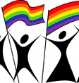 gay couples with a flag vector image