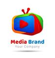 TV Service Logo Template Colorful 3d Volume Logo vector image