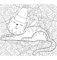 adult coloring bookpage a cute cat wearing a vector image vector image