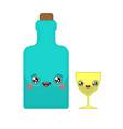 alcohol and glass kawaii cute cartoon funny vector image