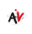alphabet letter combination av a v with grunge vector image vector image
