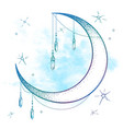 blue crescent moon with moonstone gem pendants vector image vector image