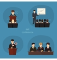 Business concept flat icons set of meeting vector image