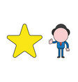 businessman character with star and giving vector image vector image
