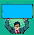 businessman holds a large smartphone vector image