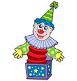 cartoon clown in box vector image vector image