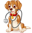 Cartoon funny dog sitting with stethoscope vector image vector image
