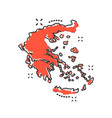 cartoon greece map icon in comic style greece vector image