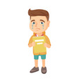 caucasian upset boy with book shedding tears vector image vector image