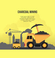 charcoal mining concept design template vector image vector image