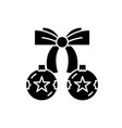 christmas balls with bow black icon sign vector image