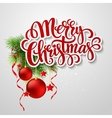 Christmas lettering card with holly and fir-tree vector image