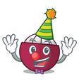 clown fresh ripe mangosteen isolated on mascot vector image