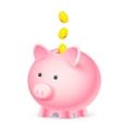 Coin falling into Piggy Bank vector image