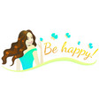 composition with happy brunette girl vector image