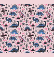 cute cartoon dinosaurs seamless pattern in blue vector image vector image