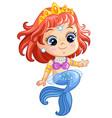 cute sitting princess mermaid cartoon vector image