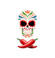 decorated sugar skull and crossed chili peppers vector image vector image