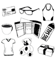 doodle pictures with shopping theme vector image vector image
