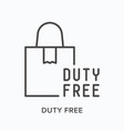 duty free flat line icon outline vector image vector image