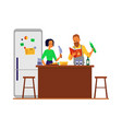 family couple cooking food in home kitchen flat vector image vector image