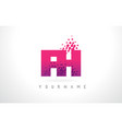 fh f h letter logo with pink purple color and vector image vector image