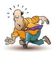 funny little men running man in tie vector image vector image