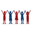 group children holding hands cartoon vector image vector image