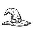 halloween witch hat in vintage monochrome style vector image vector image