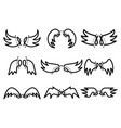hand drawn set cute angel wing vector image vector image