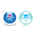 hand holding house protect family from vector image vector image