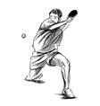 Hand sketch table tennis player vector image vector image