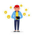 happy boy with a tablet having chat with smile vector image vector image