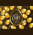 happy easter background with golden eggs frame vector image vector image