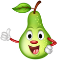 happy green pear thumbs up vector image vector image