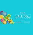 horizontal paper flower sale banner vector image vector image