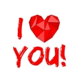 I love you with heart isolated on white background vector image vector image
