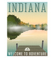 indiana travel poster or sticker vector image vector image