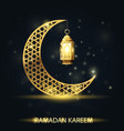 islamic crescent with traditional lantern ramadan vector image
