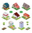 Isometric City Buildings Houses and Cottages vector image vector image