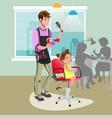 little girl in a hairdresser vector image vector image