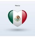 Love Mexico symbol Heart flag icon vector image