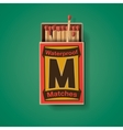 Matchbox and matches top view vector image vector image