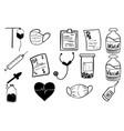 medical icons set hand drawn cartoon vector image