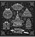 merry christmas design with chalk word art on vector image vector image