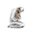 muslim man praying hand drawn sketch on white vector image
