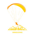 paragliding logo with skydiver flying over vector image vector image