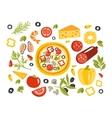 Pizza Preparation Set Of Ingredients vector image vector image